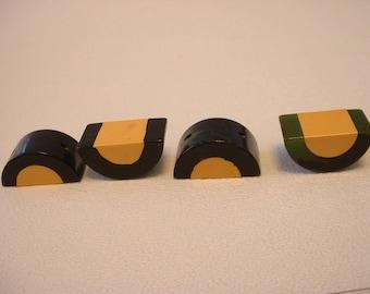 Vintage 2 Tone Bakelite Half Moon Buttons