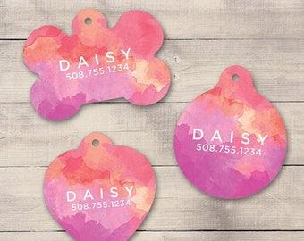 ON SALE: Pink Purple Watercolors Pet ID Tag, Custom Pet Tag, Personalized Dog Tag, Dog Id Tag, Puppy Tag, Dog Id, Pet Tag, Cat Tag (0008)