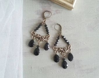 Chandelier earrings with black agate and black joint microstones