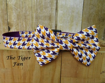 Purple and Gold, LSU Team Pride – The Tiger Fan Bow Tie Dog Collar Set