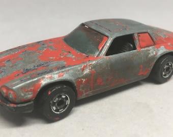 Vintage Jaguar XJS Diecast Car Hot Wheels Red Worn Patina Metal Body
