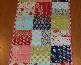 """Quilted Table Runner Vintage Picnic with Prairie Points  12 1/2"""" x 45"""""""