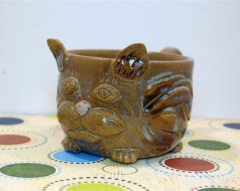 Handmade Cat Ceramic Coffee Tea Mug, functional pottery, rustic pottery, earthy, non-toxic glaze - ready to ship
