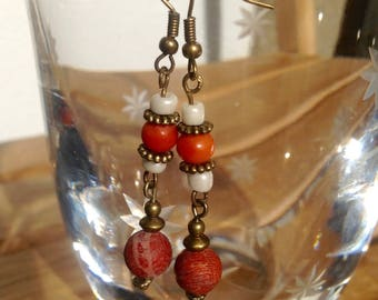 Coral and Glass Earrings with Brass