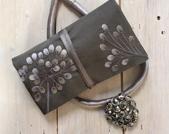 Handmade Silk Jewellery Roll with Embroidery, Fairtrade - silver grey with silver embroidery
