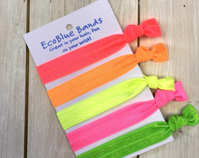 5 hair elastics, soft stretch hair ties, ponies, yoga hair ties, bracelets, ponytail holders - Neon Tones