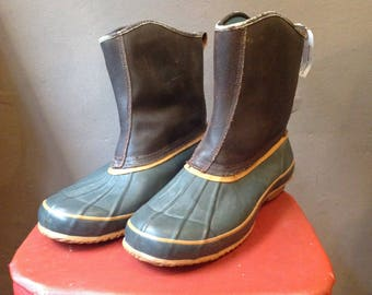 Vintage Thermalite duck hunting rain snow boots rubber leather LL Bean US size 12 outdoor rugged