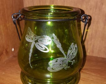 Laser Engraved Small Glass Lantern with Dragonflies ~ Gifts for Her ~ Gifts for Him ~ Home Decor ~ Housewarming Gift