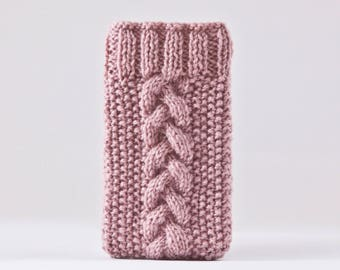 Rose Gold iPhone X Case, Knitted iPhone 8 Plus Case, Handknit iPhone Case, Girlfriend Gift, Pink iPhone Sleeve, Pink iPhone 7 Plus Case