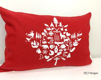 Canada Day 150 Celebration, Canadian Pride, Red and White, Summer Home Decor, Cottage pillow, Canada one-five-oh, Home Decor, Oh Canada