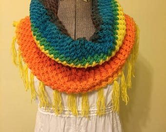 Crochet Cowl, Infinity Scarf, Pullover Scarf, Snood, Rainbow Scarf, Fall Scarflet, Crochet Collar, Colorful Scarf