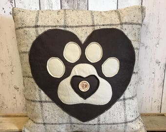 Heart and paws - brown and beige wool check , large heart and paw applique cushion