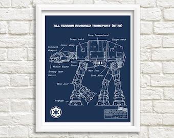 "AT-AT Blueprint, Star Wars Blueprint, At At Star Wars, Instant Download, At-At, Star Wars Walker, Imperial Walker Decor, 8x10"", 11x14"""
