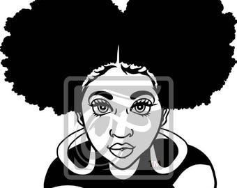 Focsi Girl with Afro Puffs SVG