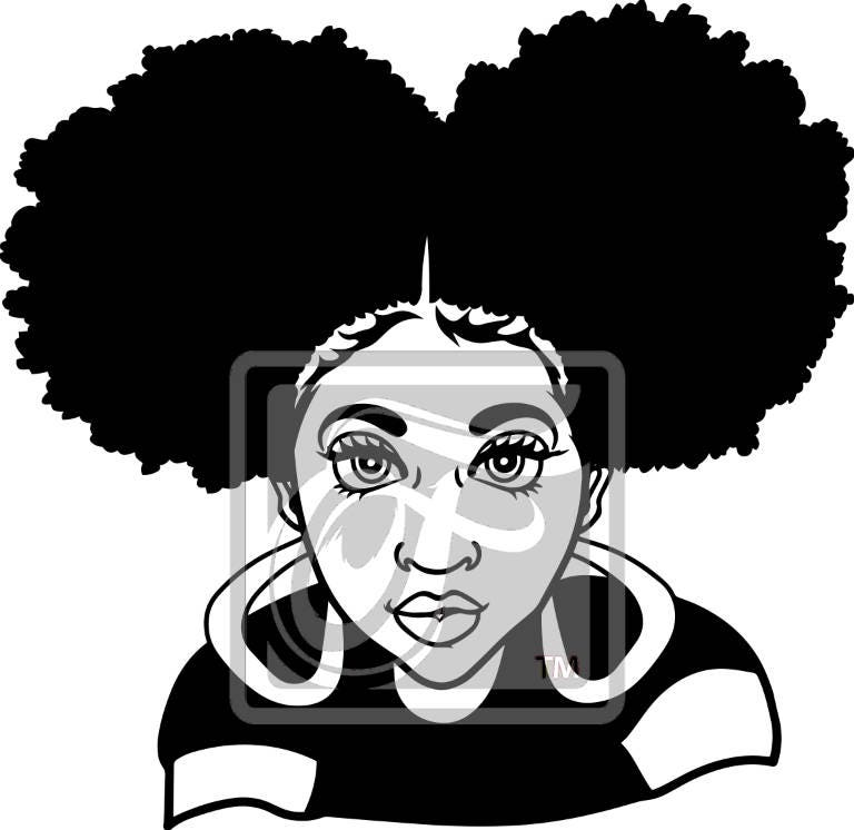 Focsi Girl With Afro Puffs Svg From Focsi On Etsy Studio