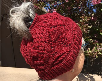 "Handknit wool  ""messy bun"" hat"