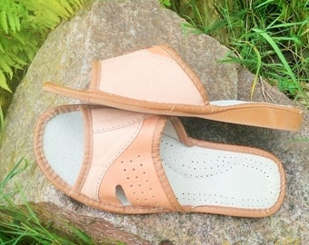 SALE of REST!!! Leather women's slippers, Women biege sandals Summer slippers leather shoes Women Only one pair EU 40
