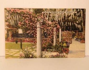 ON SALE 1940's Savannah Georgia GA Wormsloe Gardens Vintage Old Linen Postcard 1941 Mailed Stamped Postmarked