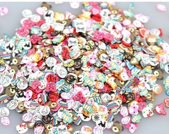 On Sale 100pcs Assorted mixed fimo slices  animals  Nail Art