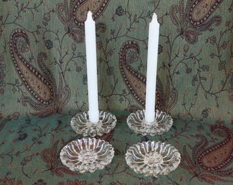 """Set of 4 Hazel-Atlas Candle Holders ~ """"Daisy"""" Pattern #487 ~ 4-3/8"""" x 1"""" ht ~ 1950s-1970s ~ Clear Glass ~ Crystal ~ Candle Stand"""