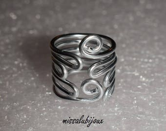 large ring adjustable Silver Aluminum xxl