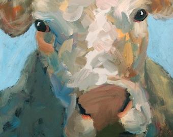 Cow Painting 16 x 20 Original Farm Animal Painting of A Cow Western Painting Texas Art Colorful Cow Painting Farmhouse Decor Farm Art