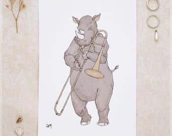 The Rhino and His Trombone ~ A5 Art Print from Original Ink and Watercolour Painting