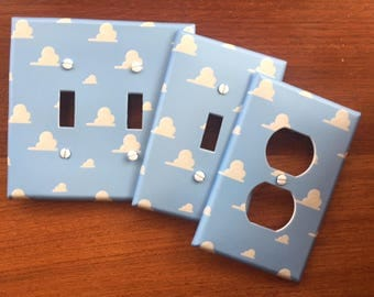Toy Story Clouds light switch cover // switch plate // blue nursery // Personalized // SAME DAY SHIPPING! **