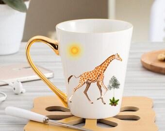 Giraffe Coffee Mug - Gold Handle Mug - Gold embellished Mug