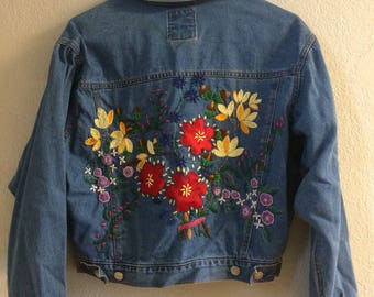 Vintage Cropped Denim Needlepoint Jacket By Jou Jou