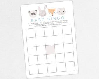 INSTANT DOWNLOAD Baby Bingo Card, Baby Shower Bingo, Baby Bingo PDF, Diy, Baby Shower Games, Woodlands, Forest, Fox, Panda, Bunny, Cat, Gray