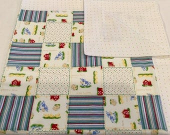 Baby Blanket Baby Gift Set Blue Jean Farmer Flannel  Blanket Receiving Blanket  Swaddling  Blanket set of two Crib Blankets