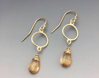 Gold-filled and Vermeil Earrings with Imperial Topaz Briolettes