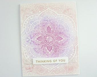 Handmade Thinking of you Cards, Thinking of you Cards, Hand Stamped Cards, Greeting Cards, Sympathy Cards, Cards, Pink, Purple