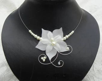 Set of jewelry for wedding dress bridal necklace + earrings evening wedding silk flower