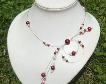 Bridal necklace, wedding party ivory (or white) glass beads and Burgundy