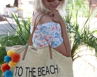 Straw Beach Bag, Embroidered To The Beach, Beach Bag, Tote Bag, Pom Poms
