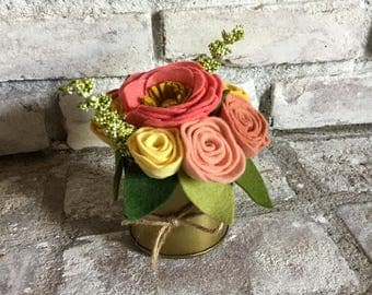 Coral and Yellow Felt Floral Arrangement in Gold Tin Vase