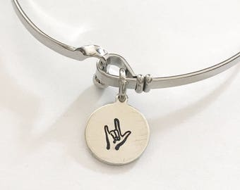 ASL bracelet- hand stamped jewelry - sign language jewelry - i love you bracelet - sign language bracelet - ASL Jewelry - ASL necklace