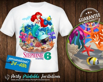 Little Mermaid Birthday Shirt, Little Mermaid Birthday Shirt for family, Ariel Birthday Shirt