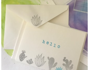 Hello - Hand Stamped Card Set - Greeting Cards