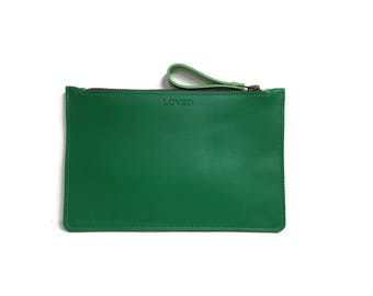 Flat Clutch in Emerald Green // Personalization available.