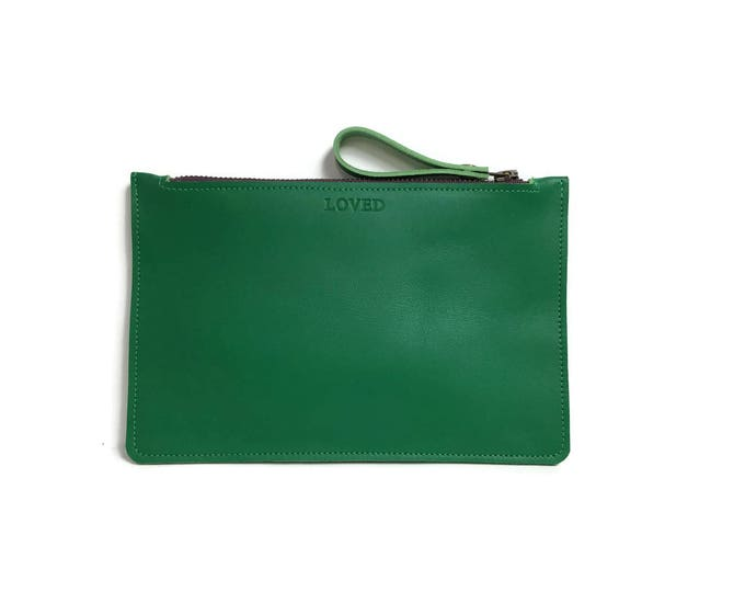 Featured listing image: Flat Clutch in Emerald Green // Personalization available.