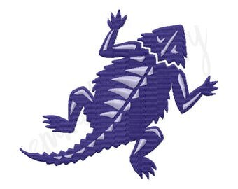 "5 Sizes TCU Horned Frog Embroidery Design - Machine Embroidery Design - Instant Download - 2"" 3"" 4"" 5"" 6"" - 8 File Formats PES DST"