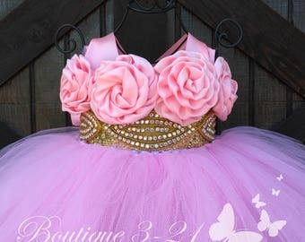 Ready to ship! Pink and Gold tutu dress, Pink Flower Girl Dress, Gold Flower Girl Dress, Pink Tutu Dress, Gold Tutu Dress, Pink Dress, Pink