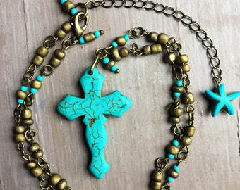Turquoise boho necklace, semi precious cross, ethnic necklace, bohemian jewellery, gypsy necklace, gift for her, uk seller, uk shop