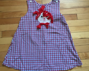 Vintage 1980s Girls Gingham Raggedy Ann Andy Dress Pinafore! Size 5