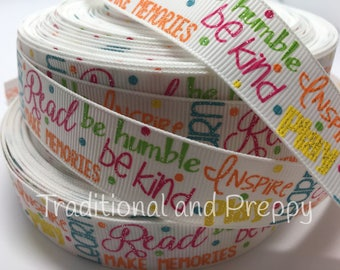 3 yards Back to School grosgrain ribbon inspire read be kind