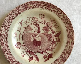 Vintage Child's Rose Colored Ceramic Plate