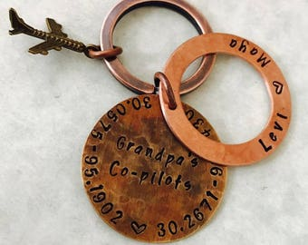 KEY CHAIN Personalized  Metal Washer, Disc, & Airplane Charm: Children/Grandchildren Names, Grandpa's-Daddy's-Papa's - Add Your Coordinates!